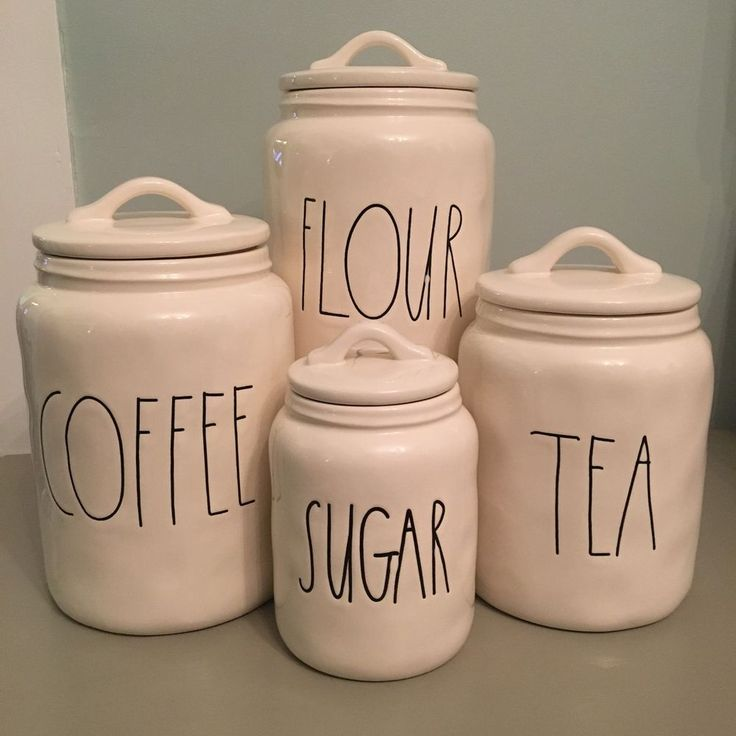 Rae Dunn Canister Set - COFFEE, FLOUR, TEA, SUGAR