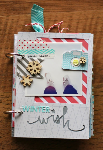 Table Scraps: Winter Wish Mini Album. Great use of studio calico and silhouette.