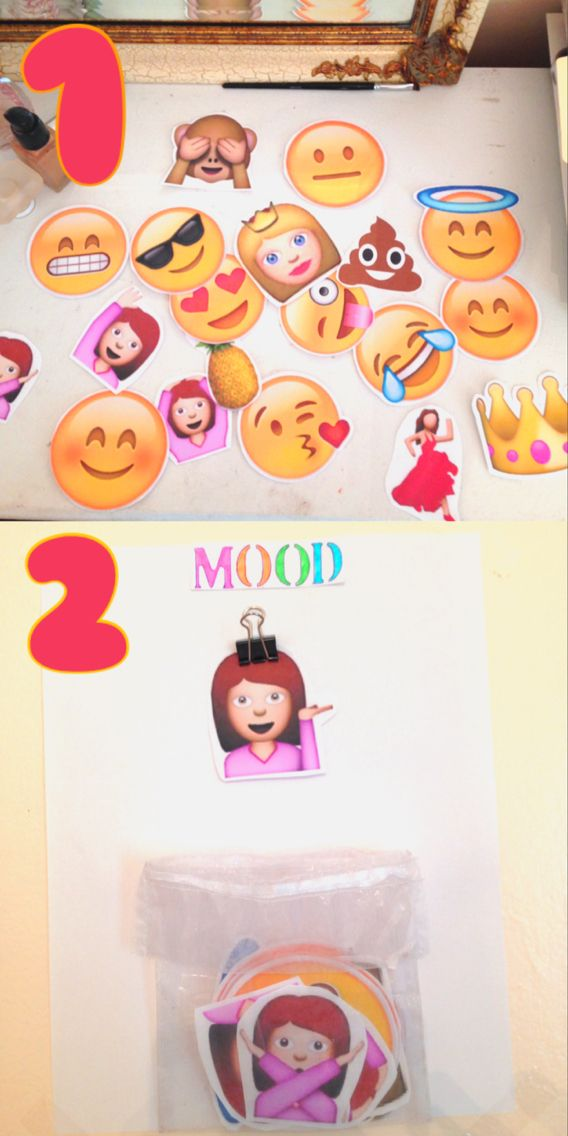 This a cute and easy diy for all ages. Basically you print and cut a bunch of emojis and but them in a little holder (I used a bag) and you get a clip and everyday you put an emoji that describes your mood. It's a fun little idea that was inspired by @ maybaby on YouTube ! Love you girl ❤️ ( FYI you can do this diy any way you'd like...I just did it like this)