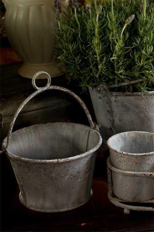 Zinc Bucket Planters