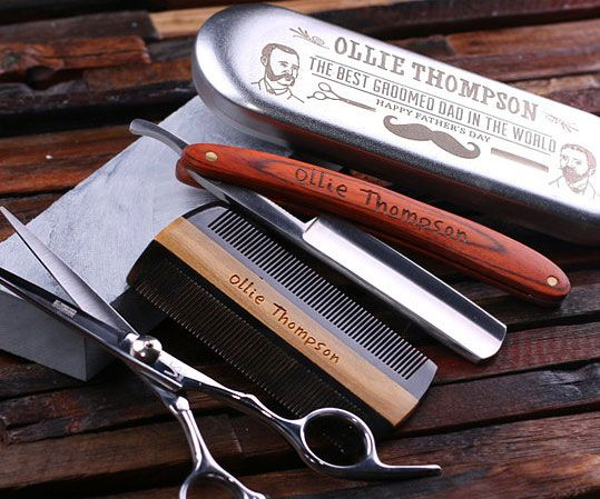 Ensure the hairy man in your life stays properly groomed like a sophisticated gentleman by giving him this straight razor shaving kit. It includes everything he'll need to look sharp - a personalized comb, sharpening stone, and a ten inch straight razor.