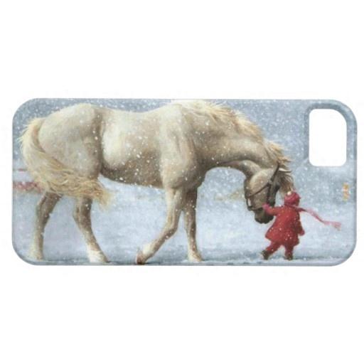 Pferd und Mädchen im Schnee Case-Mate iPhone Fall | Zazzle