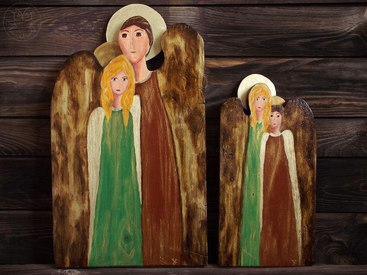 Angels handpainted on wood, guardian angels