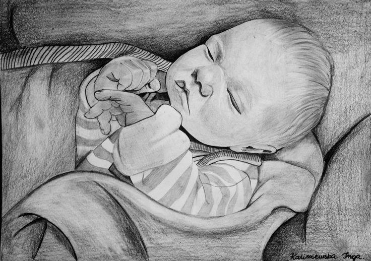 Baby on a4 paper, Drawing by Inga Kaliszewska