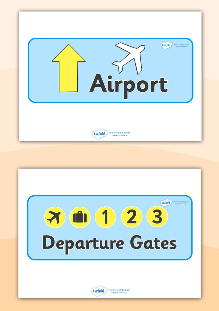 Twinkl Resources >> Airport Role Play Signs  >> Classroom printables for Pre-School, Kindergarten, Elementary School and beyond! Topics, Travel, Airports, Role Play, Signs, Display