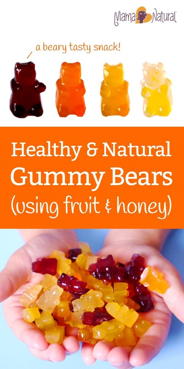 Here's a healthy gummy bear recipe that uses just fruit, honey, gelatin, and love. A tasty take on the classic (but kinda junky) kid's candy. http://www.mamanatural.com/healthy-gummy-bear-recipe/
