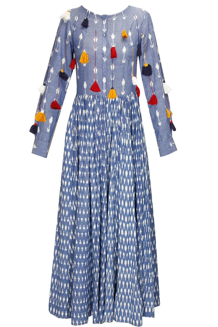 Blue ikat printed tassel dress by Ka-Sha. Shop now: http://www.perniaspopupshop.com/designers/ka-sha #dress #kasha #shopnow #perniaspopupshop