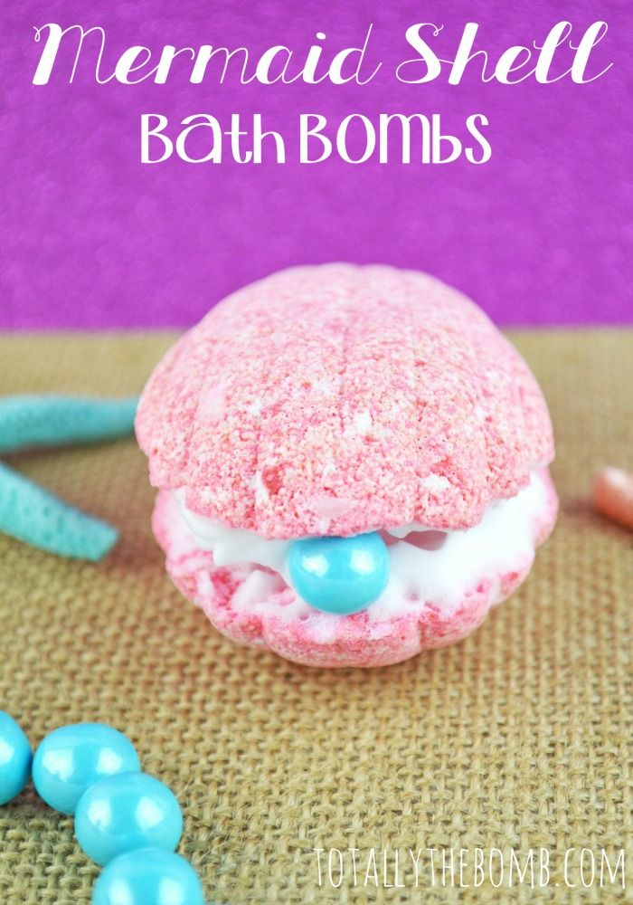 These super cute DIY Mermaid Shell Bath Bombs would make great gifts for tweens and teen girls!