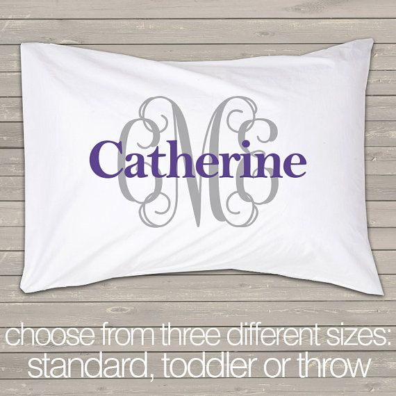 Monogram pillowcase initials with name standard size by zoeysattic