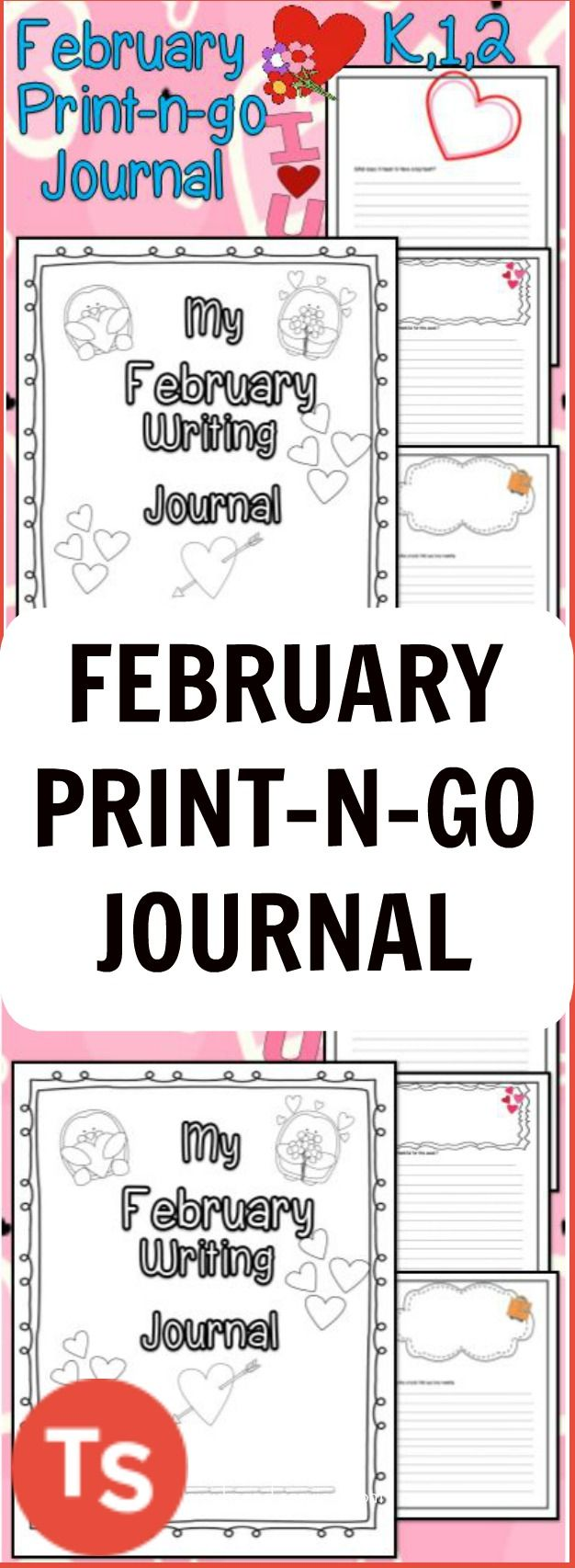 This Super Cute Writing Journal comes with perfect writing prompts for the month of February! It comes with pages lined for the Kinder writer, as well as, regular lined pages for the more advanced writer. YOU choose which style of page is best for your students. There is a space at the top of each page for the kids to draw about what they are writing.#february #elementary #journal
