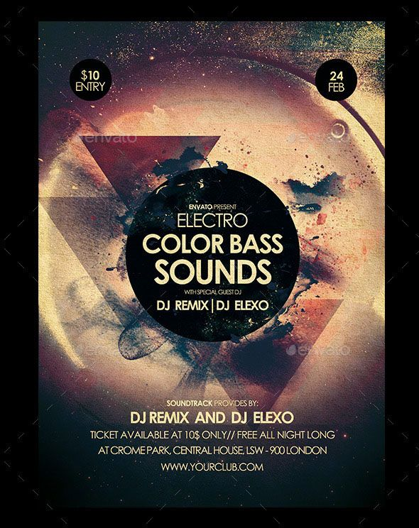 free download electronic color bass sounds party flyer design titi