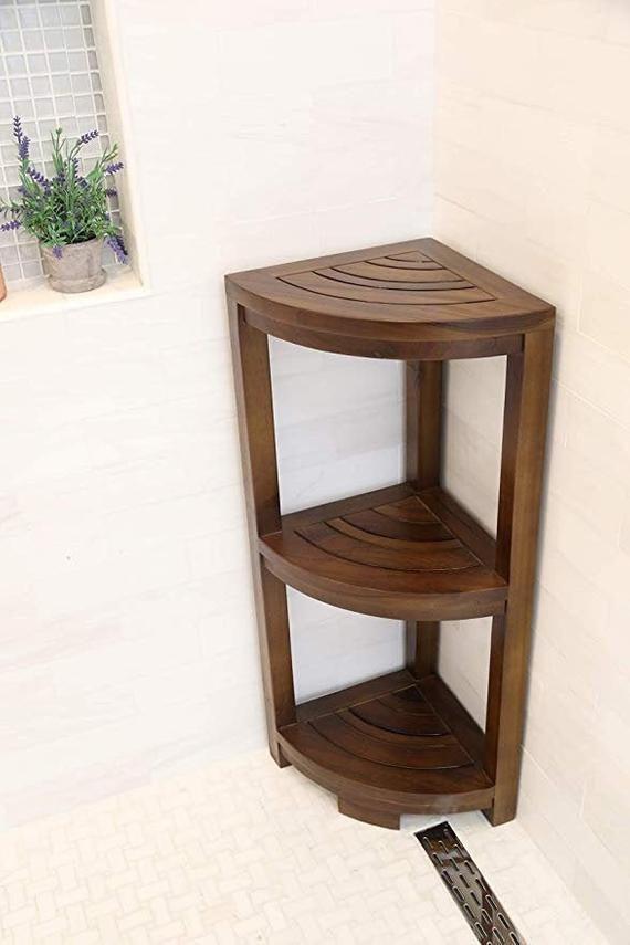 Corner Teak Wood Bath Spa Shower Stool Corner Three Shelf Storage