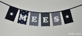 Vlaggenlijn met vilten letters. #marine #grijs #stoer #sterren