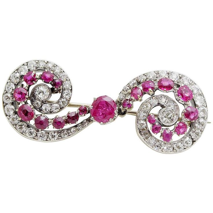 Victorian Ruby and Diamond Brooch | From a unique collection of vintage brooches at https://www.1stdibs.com/jewelry/brooches/brooches/
