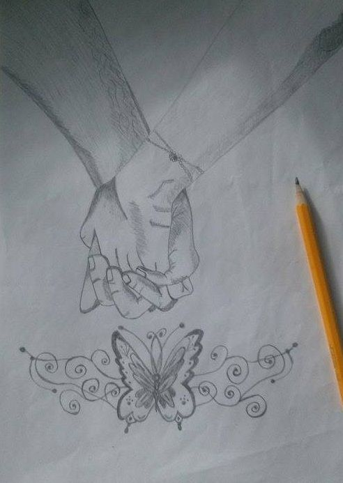 Drawings - love, butterfly