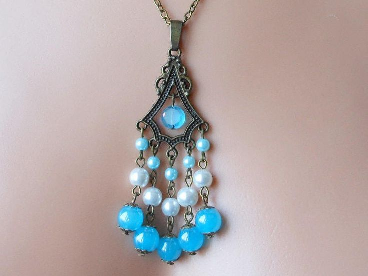 Blue pendant necklace jewellery, Glass bead and glass pearl pendant necklace. by akcrystalbead on Etsy