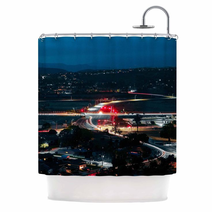 Kess InHouse Just L Chasing Lights Blue Red Shower Curtain