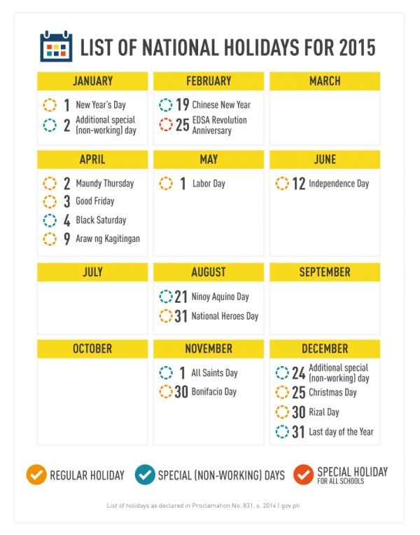 Philippine holidays and long weekends for 2015 - http://outoftownblog.com/philippine-holidays-and-long-weekends-for-2015/