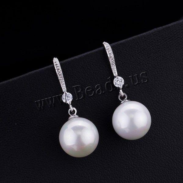 Freies verschiffen!!! Süßwasser Perlenohrring Hochzeit & Süßwasser Perle Runde