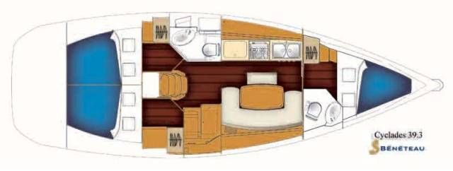 Layout van de Beneteau Cyclades 39.3 | Layout of the Beneteau Cyclades 39.3 | Sail in Greece Rhodes | sail-in-greece.net