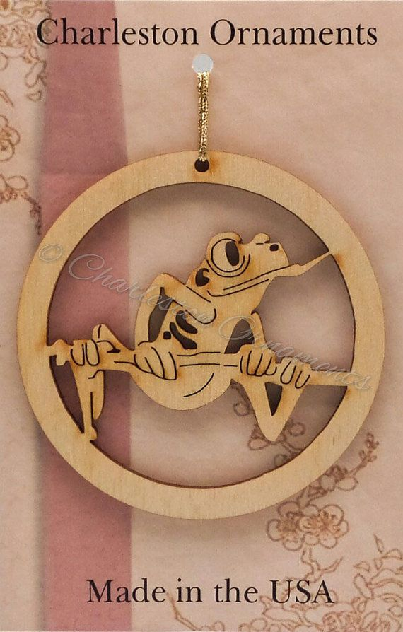 Tree Frog Engraved Wooden Custom Ornament FREE PERSONALIZATION, Tree Frog Ornament, Tree Frog  Decor