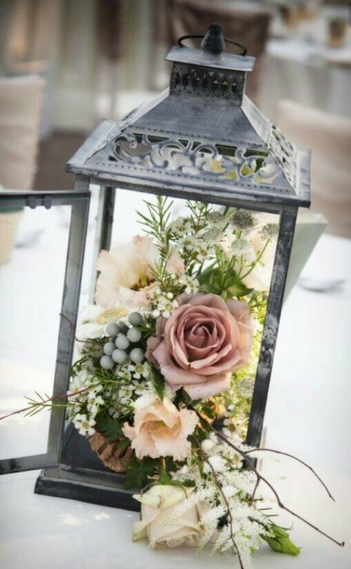 Mc Pretty Flower Combinations Note Still Thinking Flowers On Top Of Lantern W Fake Led Candle Inside Pinterest Wedding