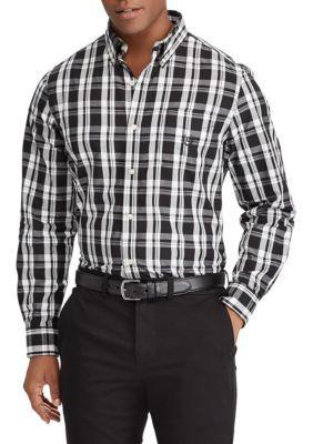 Chaps Men's Plaid Cotton-Blend Shirt - Black - Xl