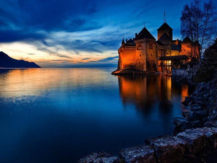 Chateau de Chillon, Lake Geneva, Switzerland...