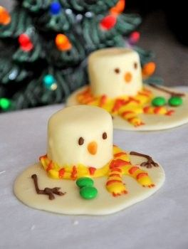 Melted snowman chocolates from Baking Bites