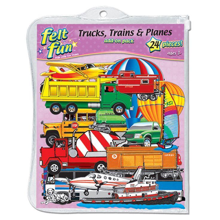 TRAINS TRUCKS & PLANES FLANNELBOARD