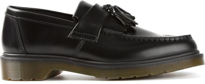 $146, Black Leather Tassel Loafers: Dr. Martens Tassel Chunky Loafers. Sold by farfetch.com. Click for more info: https://lookastic.com/women/shop_items/87952/redirect