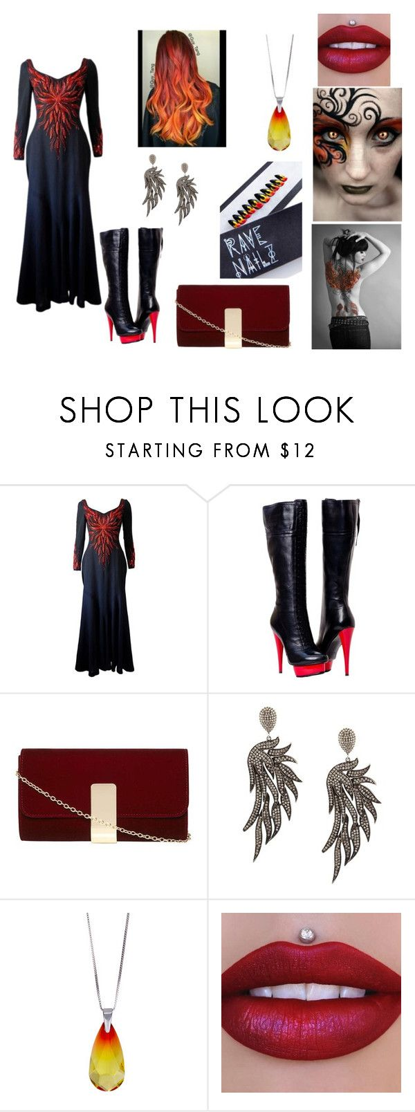 """""""fire phoenix"""" by ashwee-marie ❤ liked on Polyvore featuring Murray Arbeid, Paolo Shoes, Dorothy Perkins, Carole Shashona, Sevil Designs and Rave Nailz"""