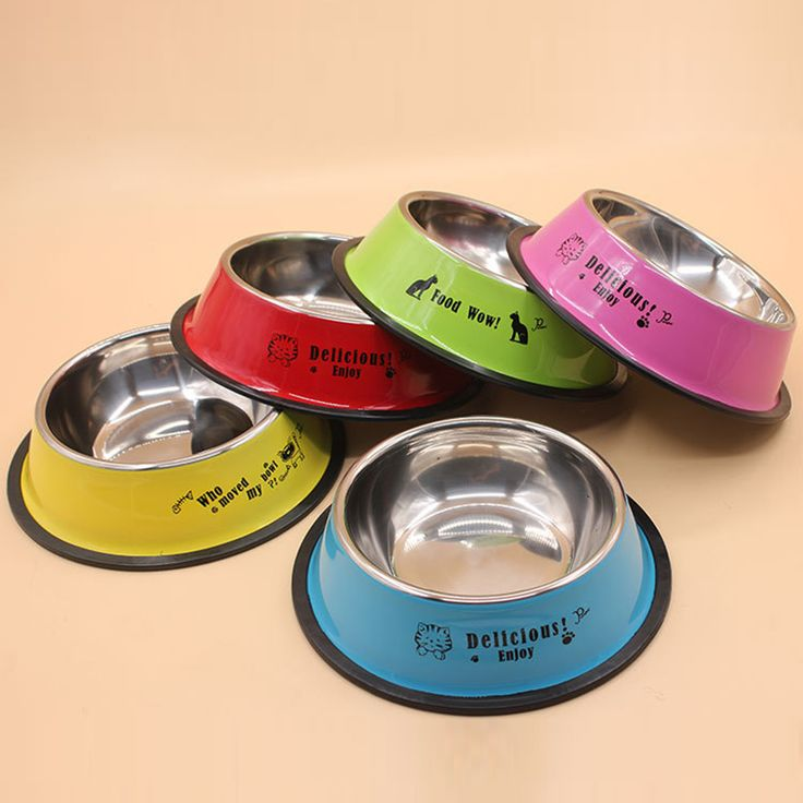 Aliexpress.com : Buy 1pc Dia 15cm Colorful Stainless Steel Anti skid Pet Dog Cat Food Water Bowl Pet Feeding Bowls Tool Non Slip Pink Red Blue Colors from Reliable pet feeding bowl suppliers on sweetyhome