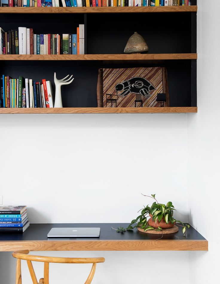 Clean lines. Strong simple study nook. From 'A Contemporary Queenslander' designed by architect Frank Vedelago. From The Design Files.