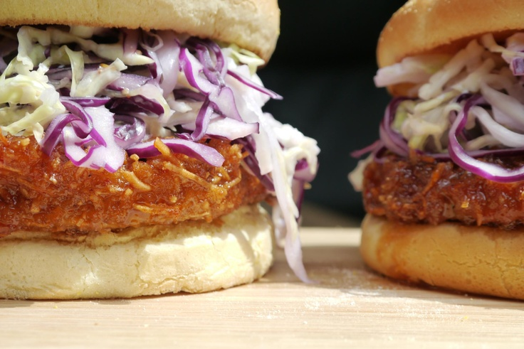 Vegan bun, Field Roast Coconut Cutlet coated in a Thai chili sauce, topped with vegan slaw. #veganrecipe #whatveganseat