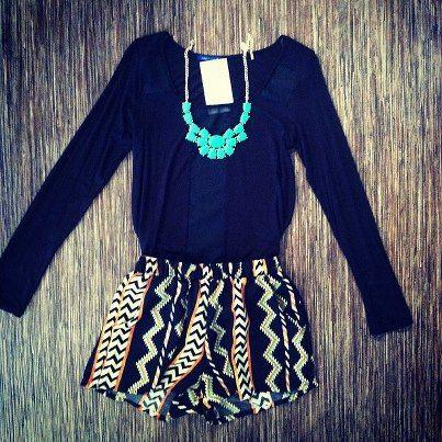 pattern shorts + long sleeve