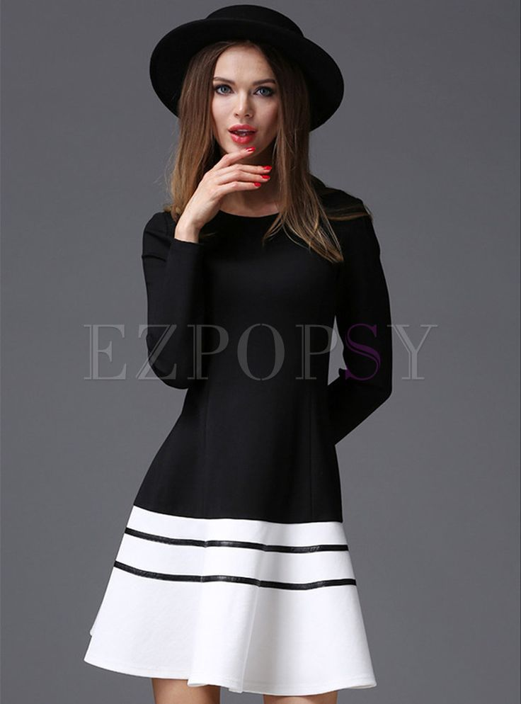 Shop for high quality O-Neck Patch Hit Color A-Line Skater Dress online at cheap prices and discover fashion at Ezpopsy.com