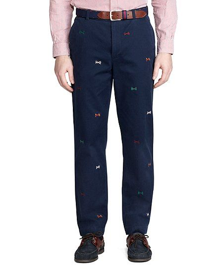 Clark Vintage Bow Tie Embroidered Chinos - Brooks Brothers
