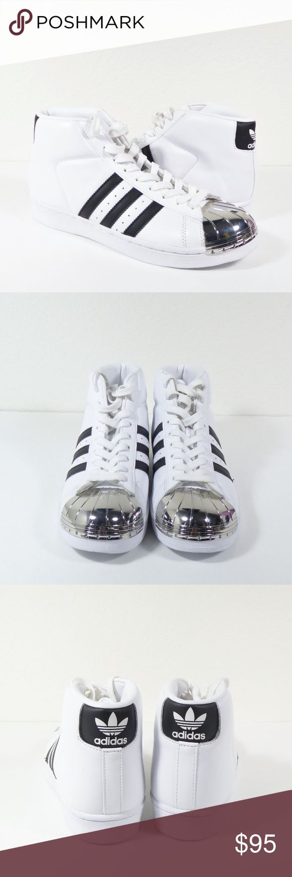NEW Adidas Pro Model Metal Toe Sneakers Hi Tops New without Tags Women's Adidas Originals Pro Model Metal Toe Sneakers (ART BB2131). White leather with iconic black Adidas stripes. Chic silver metal toe caps. Lace up, high tops. Retailed $110.  Size Women's Size 7  New without Tags/No original shoe box. Please note scratches on metal toe caps due to store wear. Light signs of wear on sole from in-store customer try-ons. Please see photos above.  No Trades. Reasonable Offers Welcome. adidas…