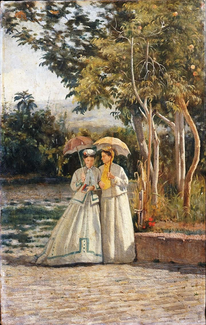 Silvestro Lega, Passeggiata in giardino, olio su tela, cm 35x22. Firenze, Galleria d'arte moderna di Palazzo Pitti