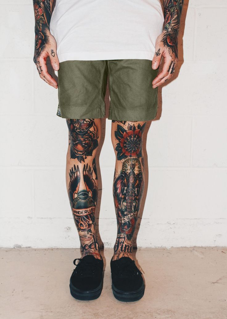Summer shorts. Our 'Signature' shorts are now available in olive! www.HRDRVS.com  #hrdrvs #tattoos #leg tattoos #traditional tattoos #shorts #summer fashion