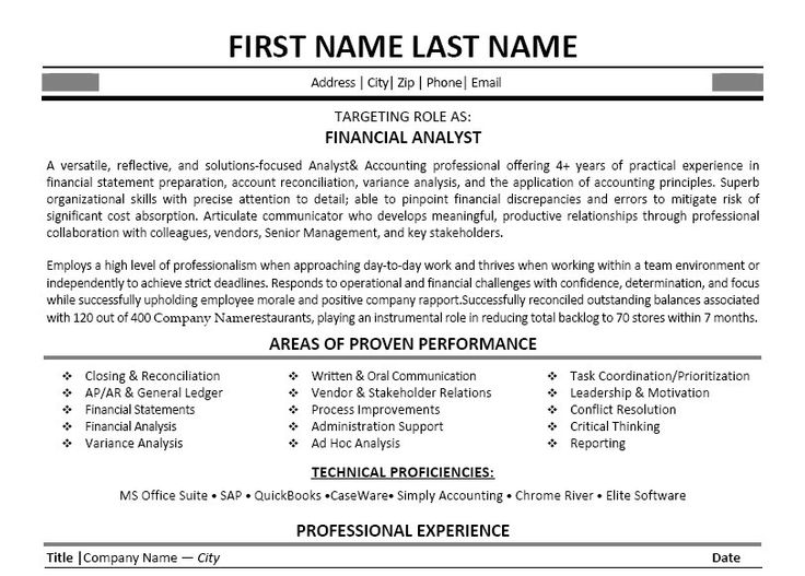 financial business analyst resumes