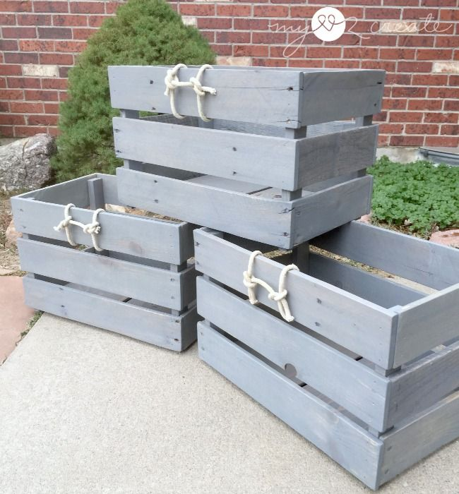 Build some useful Stackable Pallet Crates for a great way to add storage and character to your home!