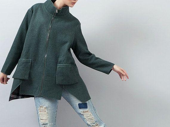 Dark Green Women Winter Coat/Wool Heavy Short Asymmetrical Hem Coat Long Sleeve Front Zipper Standing Collar Heavy Coat