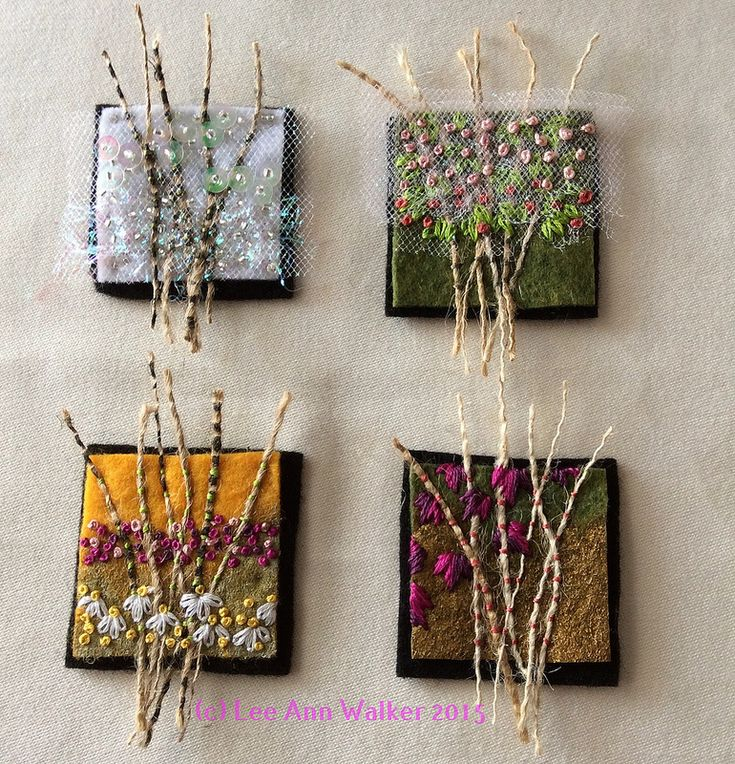 "Lee Ann Walker 2- 2"", 1:27:2015 Week two Seasons: two inch commercial felt base, burlap, paint, thread, sequins, beads and netting"