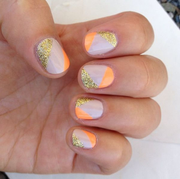 Simple Line Nail Art Designs : Classic nude neon and glitter nails by fat junkie