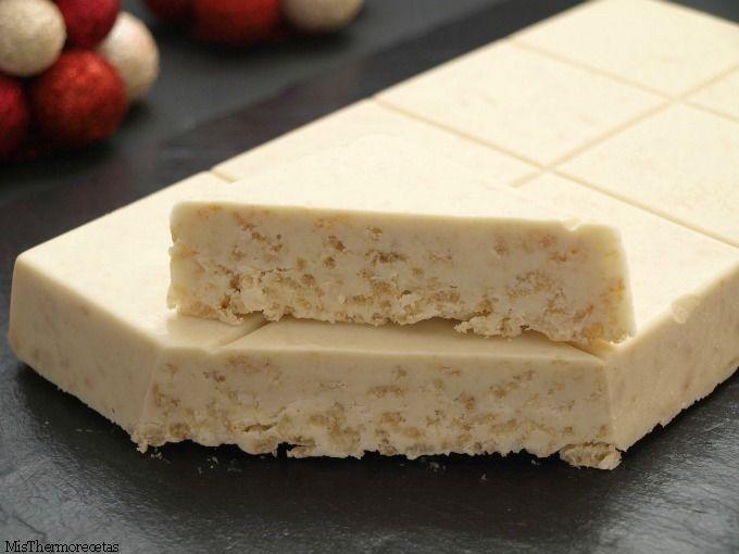 Turrón de chocolate blanco crujiente | Recetas Thermomix | MisThermorecetas