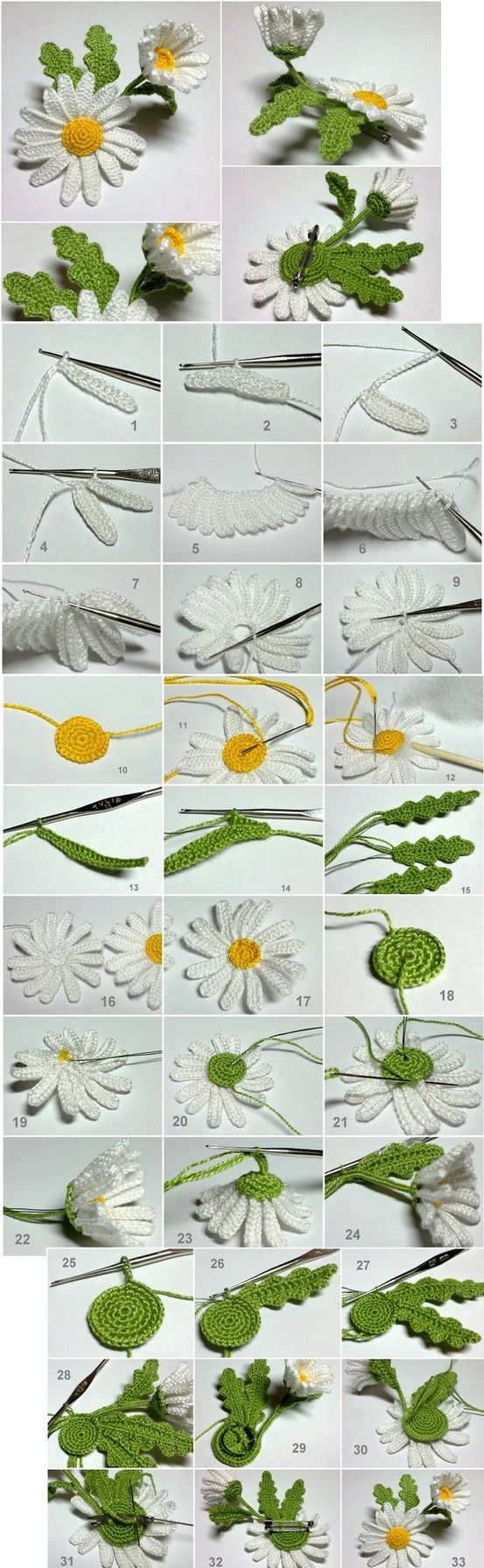 Crochet daisy brooch - complete pictorial! | (would love to know who to credit with this great make)