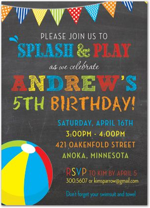 Multicolored Chalkboard Beach Ball Pool Party Invitations