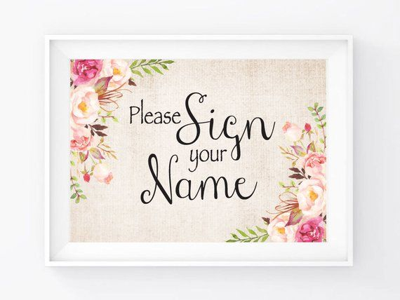 """Instant Download, Sign Your Name Sign 5""""x7"""", Print Ready Wedding Sign, Wedding Decor Signage Template, DIY Printable PDF and JPEG (GB5)"""